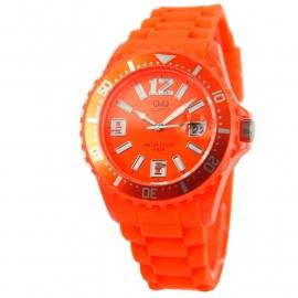 Oranje horloge met datum / Q&Q Horloge by Citizen