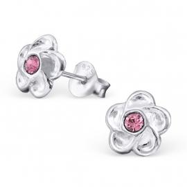 Zilveren Kinderoorbellen Bloem met Roze Steentje