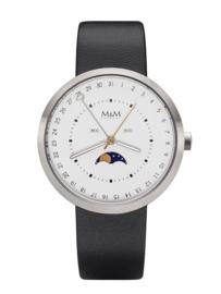 Zilverkleurig M&M Heren Horloge met Blauwe Lederen Horlogeband
