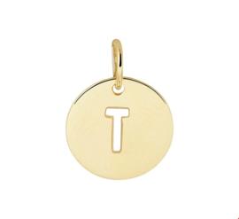 Opengewerkte Letter T Hanger van Geelgoud