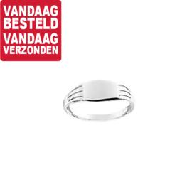Zilveren Ring met Rechthoekig Kopstuk / Ringmaat 13