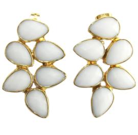 Oorhangers met Witte Agaat Edelstenen van Sujasa