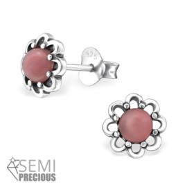 Zilveren Bloem Oorstekers met Roze Opaal Steen