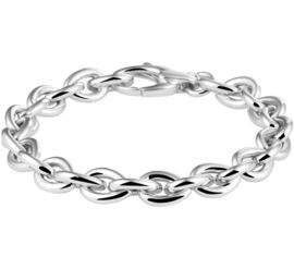 Robuuste Zilveren Schakelarmband met Rhodium voor Dames