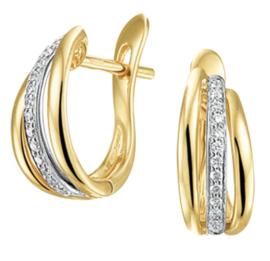 Gouden Drie Stroken Klapcreolen met Witgouden Diamant Strook