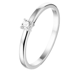 Vlakke Witgouden Ring met Transparante Diamant