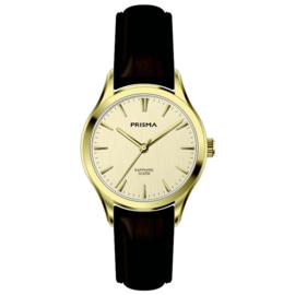Prisma Goudkleurig Balm Dames Horloge met Donkerbruine Band