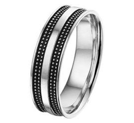 Zilveren Graveer Heren Ring met Dubbele Geoxideerd Zilveren Strook