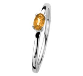 Zilveren Ring met Zirkonia's en Ovaalvormige Citrien Edelsteen