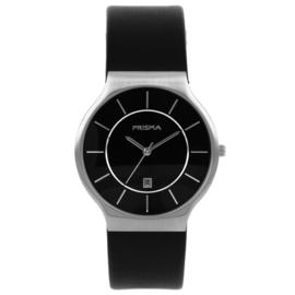 Zilverkleurig Heren Horloge met Zwart Lederen Horlogeband