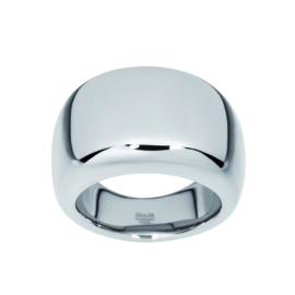 Brede Zilverkleurige Bolstaande Ring van Edelstaal van M&M