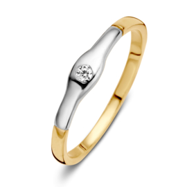 Excellent Jewelry Gouden Ring met Witgouden Kopstuk met Zirkonia