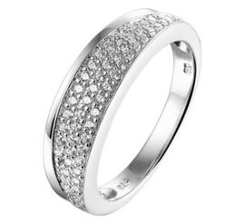 Gepolijste Zilveren Ring met Zirkonia's en Glanzende Randen