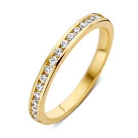 Excellent Jewelry Slanke Ring van Geelgoud met Zirkonia's