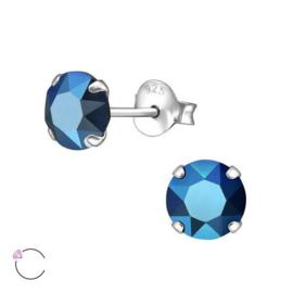 Zilveren Oorknoppen met Blauwe Swarovski Steen