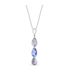 Spark Triple Drop Ketting met Lichtblauw Glaskristal