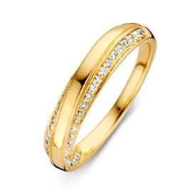 Excellent Jewelry Geelgouden Fantasie Ring met Diamanten Rijen