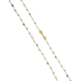 Goudkleurige Schakel Ketting met Turquoise Steentjes