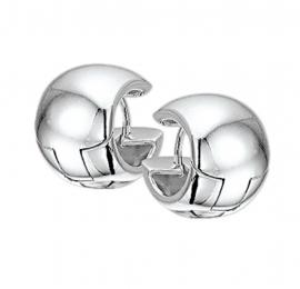 Intrigerende Bolle Buis Klapcreolen van Gepolijst Zilver