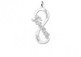 Names4ever Forever Infinity Hanger van Zilver - Graveer Sieraad