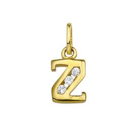 Alfabet Letter Z Hanger van Geelgoud met Zirkonia's