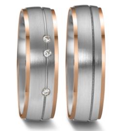 Matte Zilveren Trouwringen Set met Roségouden Randen en Drie Diamanten