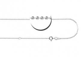 Zilveren Bolletjes Ketting Names4ever | Lengte: 38-42 cm