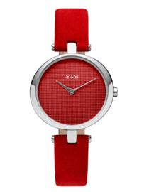 M&M Horloge met Rode Accenten voor Dames