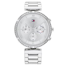 Tommy Hilfiger Luna Zilverkleurig Dames Horloge met Zirkonia Rand