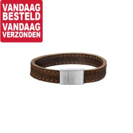 Bruin Lederen Armband voor Heren / Lengte 19cm