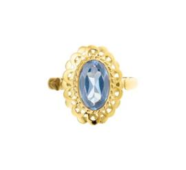 Vintage Gouden ring met Ovale Synthetische Aquamarijn Steen
