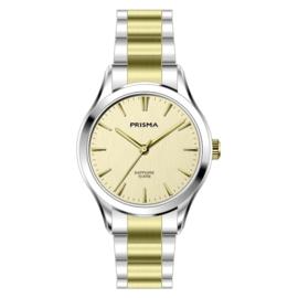 Prisma Zilver- met Goudkleurig Balm Dames Horloge