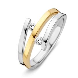 Excellent Jewelry Witgouden Dames Ring met Losse Uiteinden en Diamanten