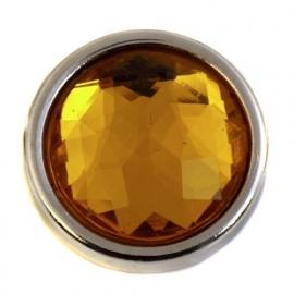 Amber facetgeslepen munt-drukker 20 mm BEC0048-11