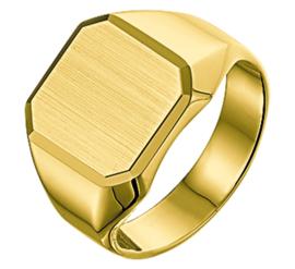 Gouden Zegelring voor Heren met Mat Gediamanteerd Vlak - Graveer Ring
