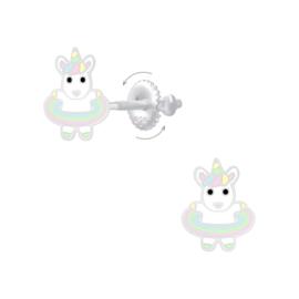 Zilveren Hoelahoep Eenhoorn Kinderoorbellen met Schroefsluiting