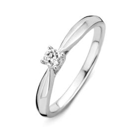Excellent Jewelry Witgouden Dames Ring met Kleurloze Briljant
