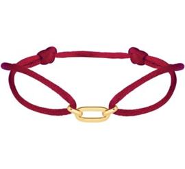 Bordeaux Rode Satijnen Armband met Brede Gouden Schakel
