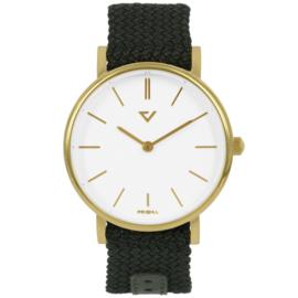 Prisma Goudkleurig Unisex Horloge met Groene Nylon