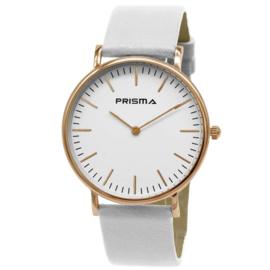 Prisma Verfijnd Roségoudkleurig Dames Horloge met Wit Lederen Horlogeband