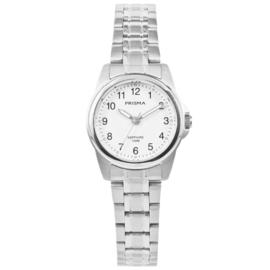 Prisma Zilverkleurig Rond Dames Horloge met Edelstalen Horlogeband