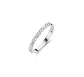 Witgouden Vlakke Zilveren Ring met Meerdere Zirkonia's