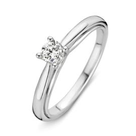 Excellent Jewelry Bolstaande Witgouden Ring met 0,30 crt. Briljant