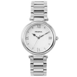 Zilverkleurig Dames Horloge van Prisma met Witte Wijzerplaat