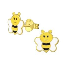 Goudkleurige Bijtjes Kinderoorbellen van Zilver