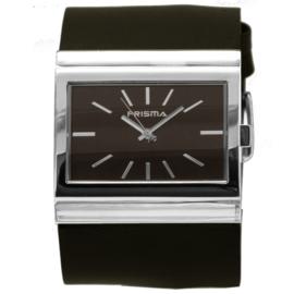 Prisma Rechthoekig Breed Dames Horloge met Zwart Lederen Horlogeband