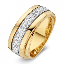 Excellent Jewelry Brede Bicolor Ring met Witgouden Diamant Strook