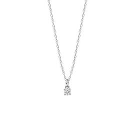 Zilveren Collier met Kleurloze Zirkonia