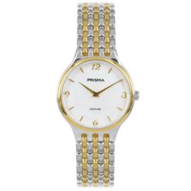 Prisma Basic Dames Horloge met Goudkleurige Elementen
