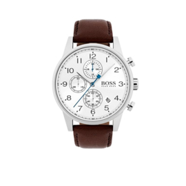 Hugo Boss Horloge Navigator Zilverkleurig Horloge met Witte Wijzerplaat van Boss